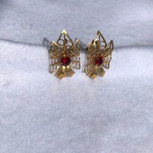 Vintage BN Gold Ruby Screw On Earrings   J19